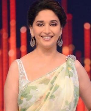 Indian actress Madhuri Dixit Wears Indian saree by Shehla Khan