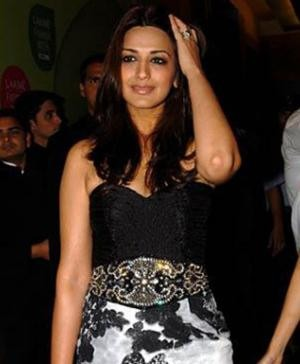 Sonali Bendre in a Black and White dress by Siddartha Tytler