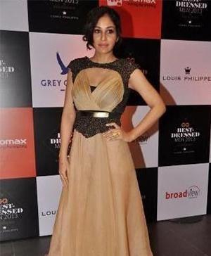 Sougat Paul - Pooja Chopra in Sougat Paul Beige Fairy-Tale Gown