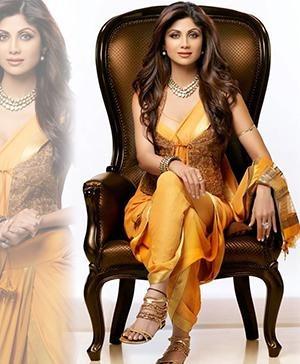 Bollywood star Shilpa Shetty in Indian Designer Tarun Tahiliani's saree-gown