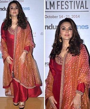 Bollywood actress Preity Zinta at Mumbai Film Festival 2014 in a Sabyasachi Outfit