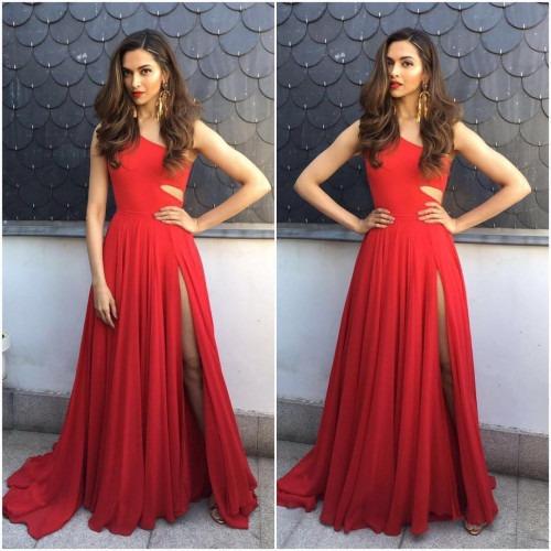 Deepika Padukone Wears Off-Shoulder Red Evening Gown ...