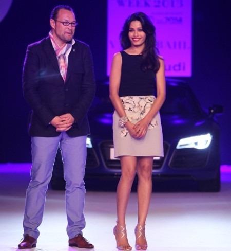 Freida Pinto Cheers Indian Fashion Designer Varun Bahl at Delhi Couture Week