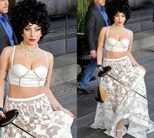 Lady Gaga Wearing Dress by Designers Falguni & Shane Peacock