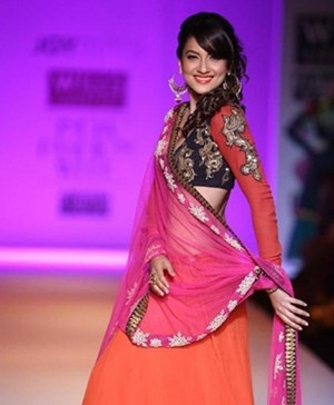 Actress Gauhar Khan displayed creations for Indian fashion designer Joy Mitra