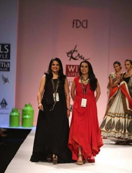 Indian Designer Duo of Ekta and Ruchira for their brand Ekru on the ramp at Wills Fashion Week