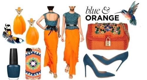 Stunning blue and orange gown by indian designer sougat paul