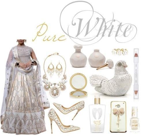 White brocade lehenga by Indian Designer Anita Dongre