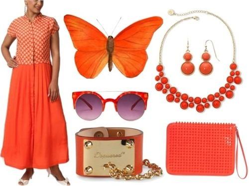 Indian fashion designer brand Myoho's orange Indian designer dress