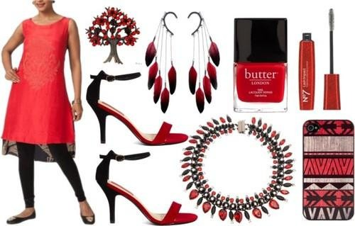 Black and Red embroidered designer tunic by Indian designer label 'Myoho'