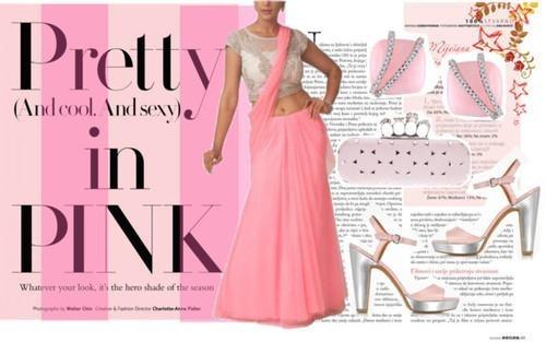 Indian Designer Neha Gursahani presents a pink saree -gown style lehenga