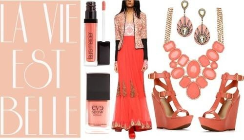 Peach designer maxi dress by Indian fashion designer Vijay Balhara
