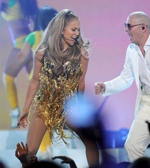 Jennifer Lopez Wearing Falguni and Shane Peacock at Billboard 2014 Songs Awards