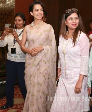 Kangana Wears Chiffon Sari   Kangana's Classy Style
