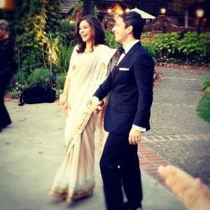 Lisa Ray at her Wedding in a Saree by Indian Designer Satya Paul