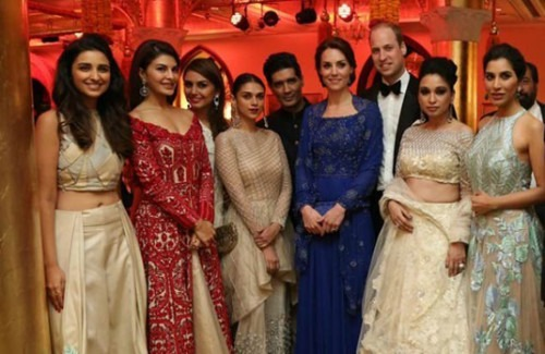 Prince William and Kate Middleton with The Bollywood Fraternity  Bollywood fashion dazzles Kate Middleton & Prince William