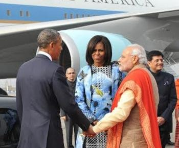 Michelle Obama Will Be Presented With an Exquisite 'Kadhua' Banarasi Silk Saree | Michelle and Barack Obama with Narendra Modi