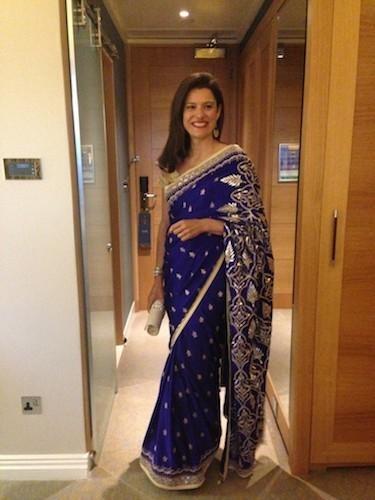 Miriam Clegg in Indian designer Anita Dongre Saree