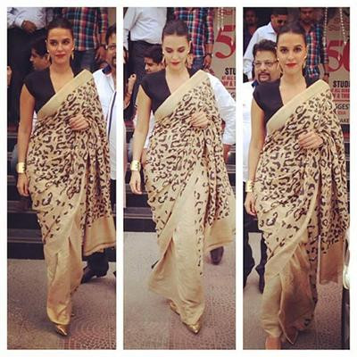 Neha Dhupia Spotted in an Abraham & Thakore Saree - Abraham and Thakore - Neha Dhupia