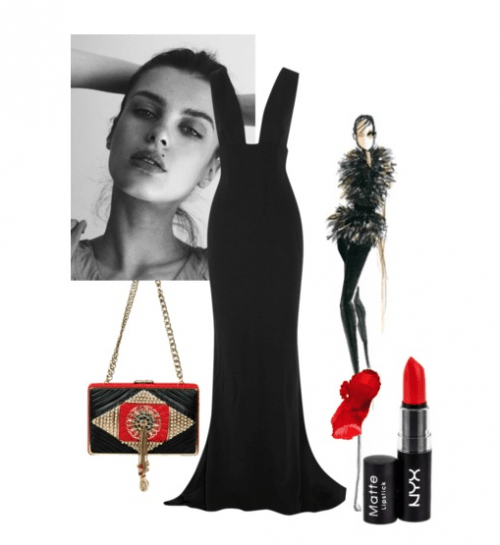 Black and Red | Polyvore Featuring Meera Mahadevia Clutch Bag