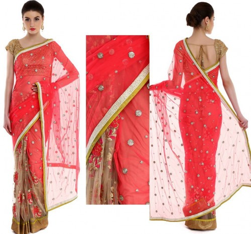 Pink And Nude Coloured Saree By Priti Sahni  Priti Sahni -3371