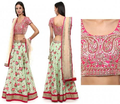 325035e9fad801 Gota Patti Embroidered Blouse and Floral Lehenga   Priti Sahni Photos