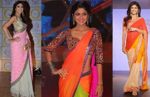 Shilpa Shetty Wearing Sarees