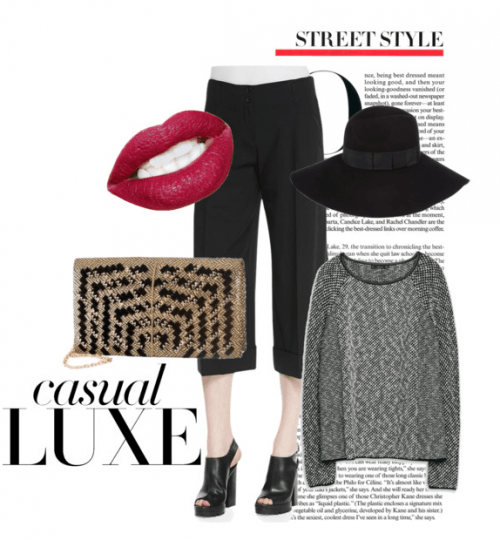 Perfect casual luxe outfit featuring a gorgeous Meera Mahadevia gold and black clutch