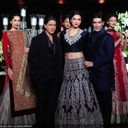 Manish Malhotra Shah Rukh Khan Deepika Padukone DCW 2013 Indian Bridal Wear