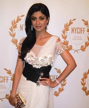 Bollywood Star Shilpa Shetty at the NYC Film Festival in a Tarun Tahiliani Dress