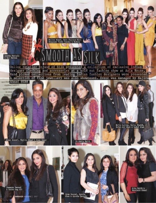 Coverage of the fashion show at Asia House in Social Diary