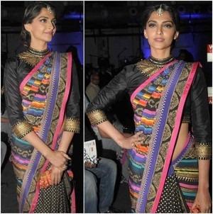 Sonam Kapoor In Manish Arora's Saree At WIFW 2013 bollywood actress designer
