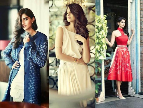 Sonam Kapoor in Indian designer outfits for Femina India May 2014