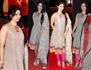 Tanisha Mukherjee at Mai Premier in a dress by Indian Designer Payal Singhal