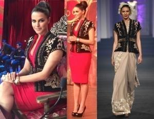 Neha Dhupia in a Jacket by Indian Fashion Designer Narendra Kumar
