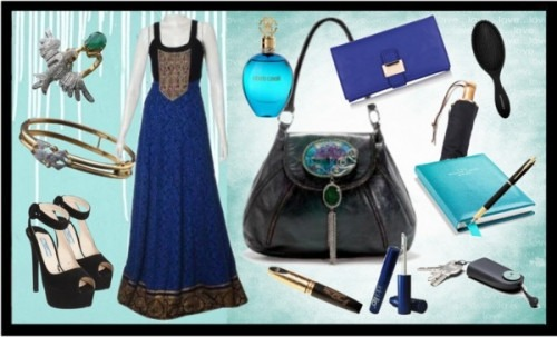 Strand of Silk - Indian Fashion Designer - Anita Dongre - Blue Dress for the evening