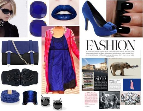 Strand of silk - indian fashion designer - anita dongre - Red Jacket and Blue Dress