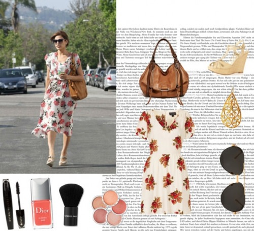 Floral dress and Designer earrings by Indian Designer Eina Ahluwalia