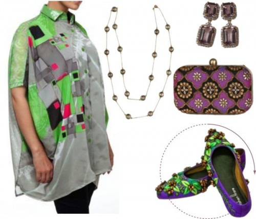 Color block shoes by Indian designers - Graphic printed Shirt by Satya Suman - Purple Clutch bag