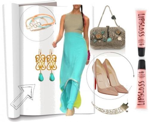 indian fashion designer Payal Singhal's blue color block dress