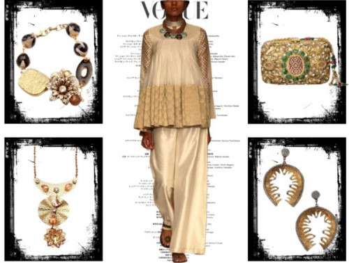 indian fashion designer Payal Singhal's high neck top complemented by golden coloured accessories