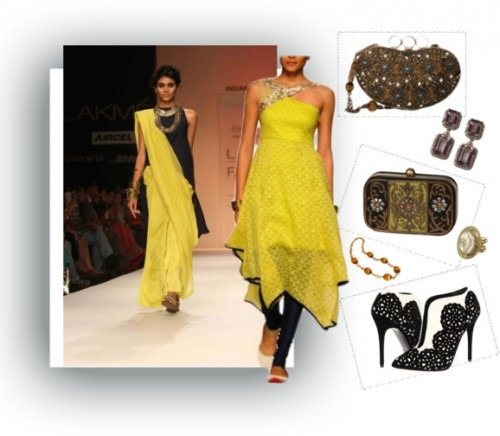 indian designers Payal Singhal yellow salwar kameez suit
