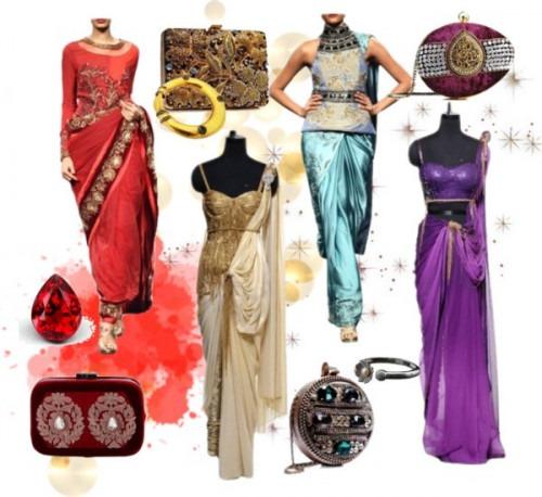 indian designers Raakesh Agarwal red blue cream and purple dresses
