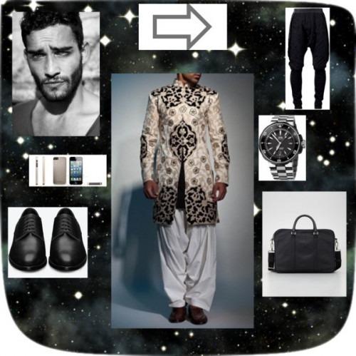 indian fashion designers Siddartha Tytler classy blach sherwani