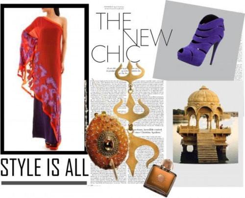 indian designers Siddartha Tytler style is all purple and orange saree