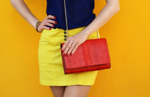 Yellow Skirts, Blue Top and Red Handbag | What Does Your Go To Clothing Colour Say About You?