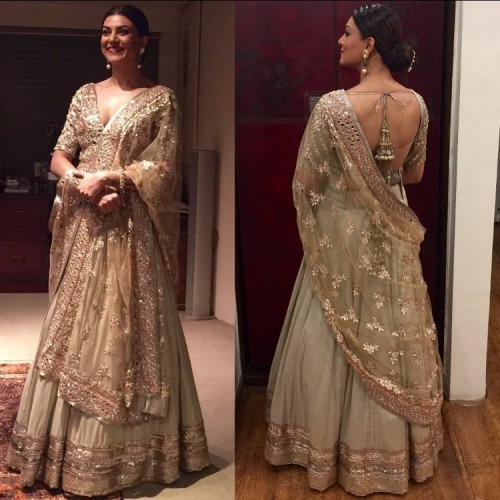 Sushmita Sen in a Mint Lehenga by Manish Malhotra   Manish Malhotra Celebs Wearing