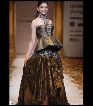 Bollywood Star Deepika Padukone on the ramp for Indian Designer Tarun Tahiliani