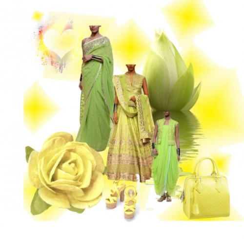 Just Lime and Green Lehengas by Indian Fashion Designer Anita Dongre