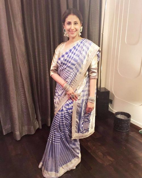 Urmila Matondkar in a Checked Saree by Manish Malhotra